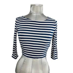 FOREVER 21 soft striped long sleeve crop top